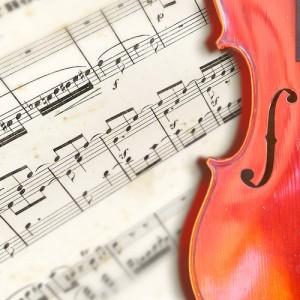 Violin on musical score