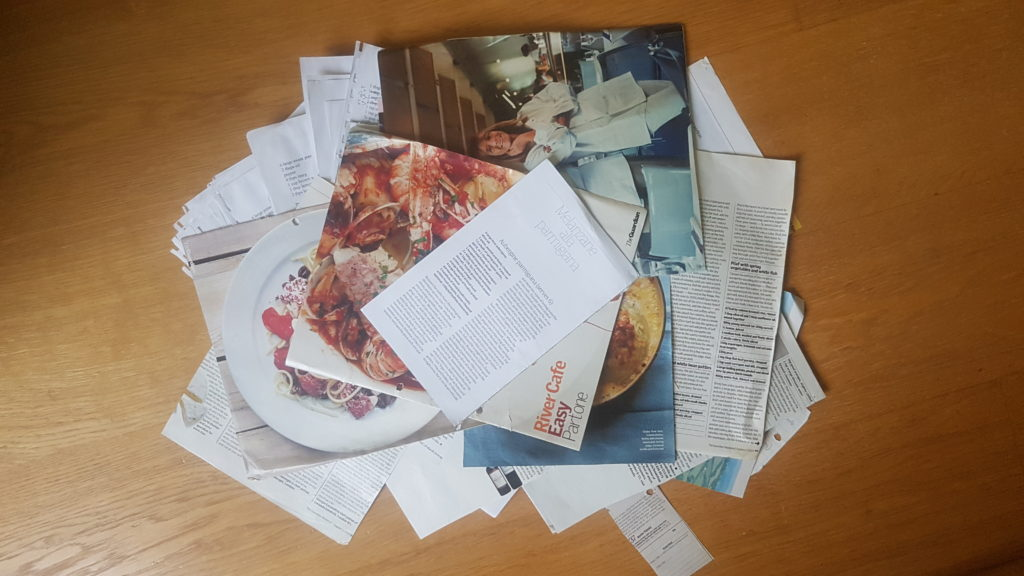 A big pile of recipes cleared out as part of my ongoing decluttering. Clutter. Declutter. GetOrganised. GetOrganized.