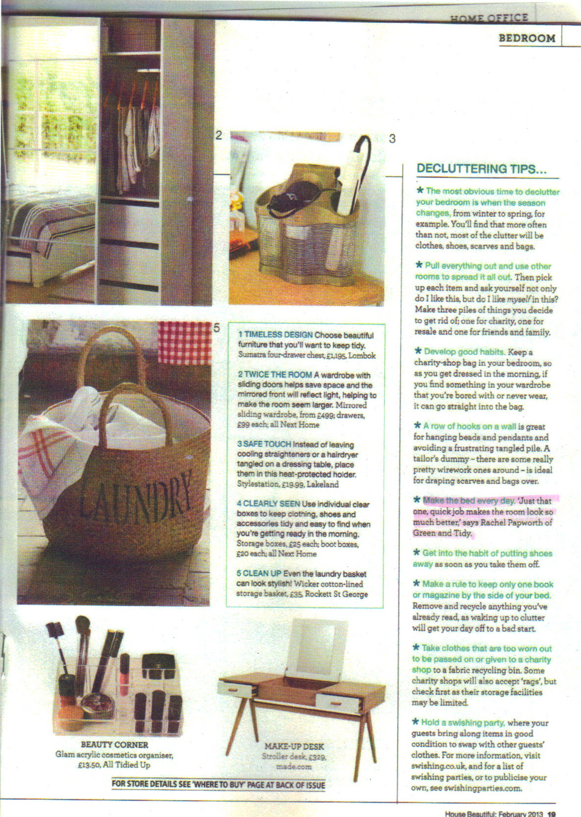 House Beautiful Feb 2013 p19 -  highlight