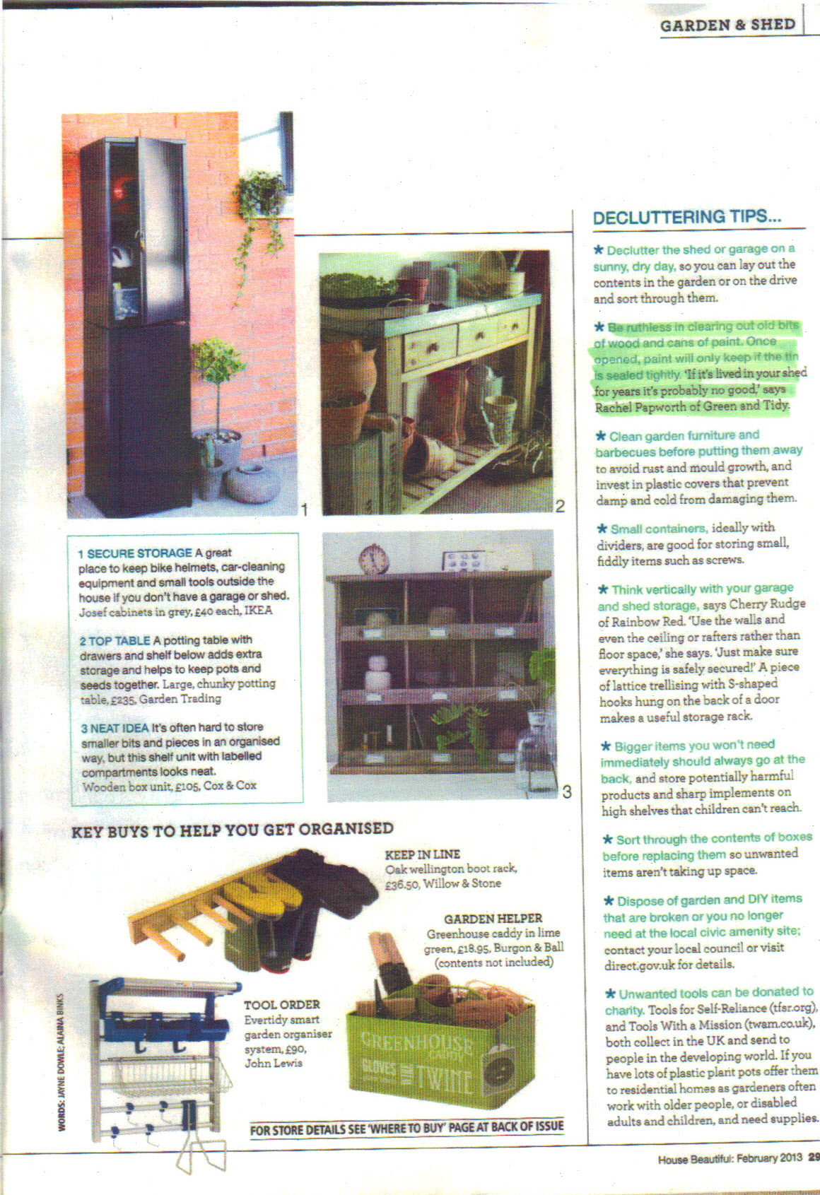 House Beautiful Feb 2013 p29 -  highlight