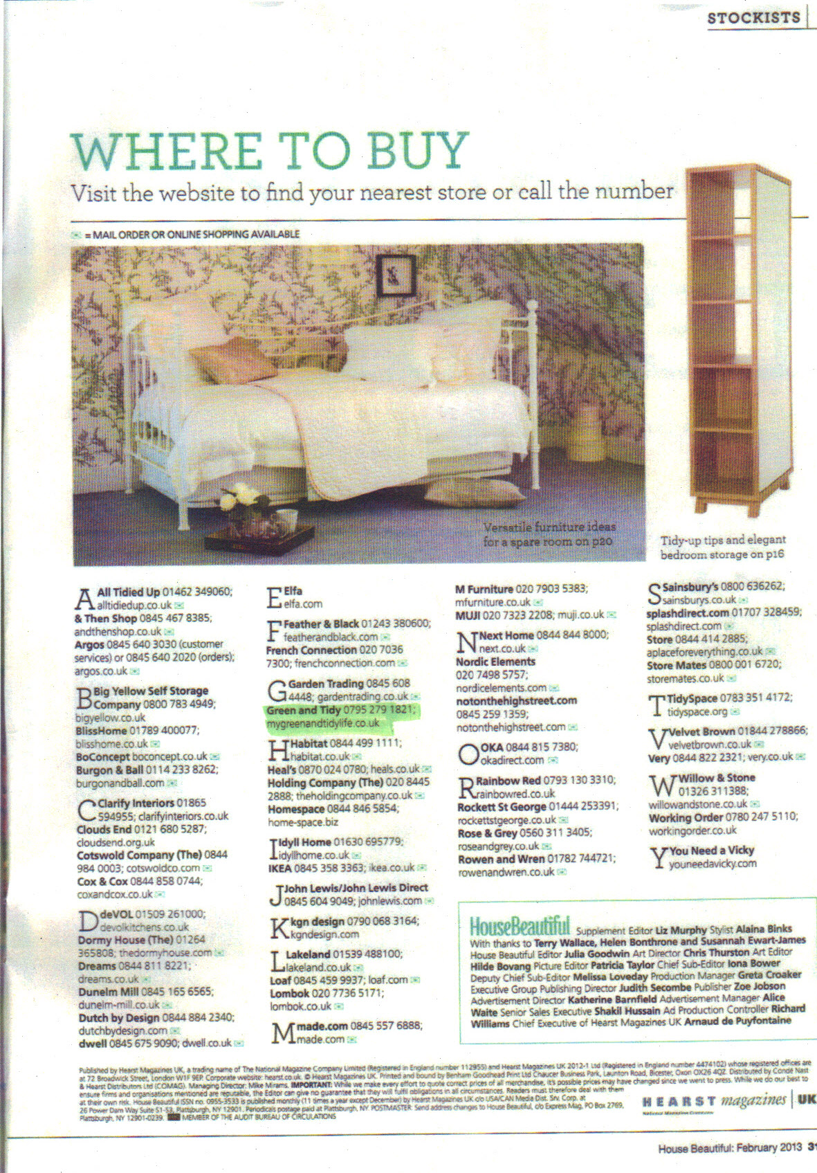 House Beautiful Feb 2013 p31 -  highlight